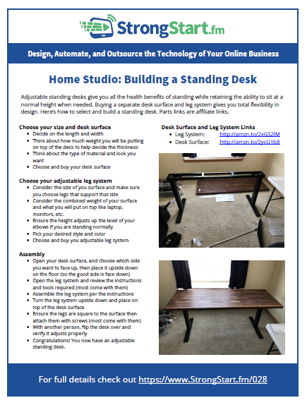 Home Studio Building a Standing Desk StrongStartfm 028